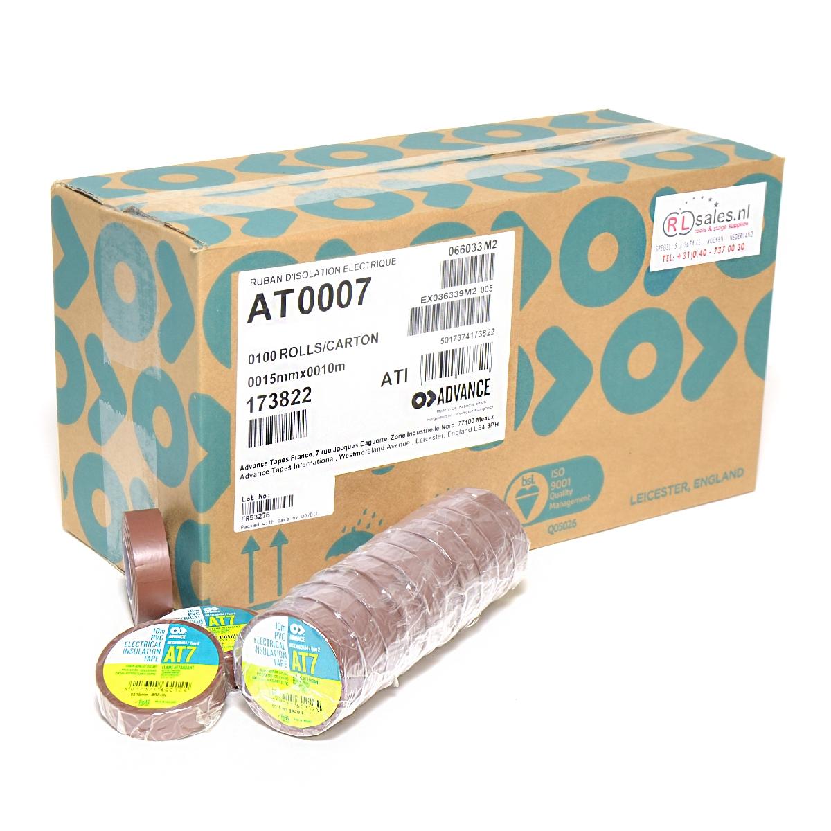 Advance -  AT7  - Isolatietape - 15mm x 10m bruin - doos 100 rollen