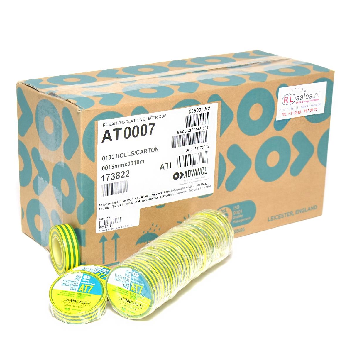 Advance -  AT7  - Isolatietape - 15mm x 10m geel/groen - doos 100 rollen