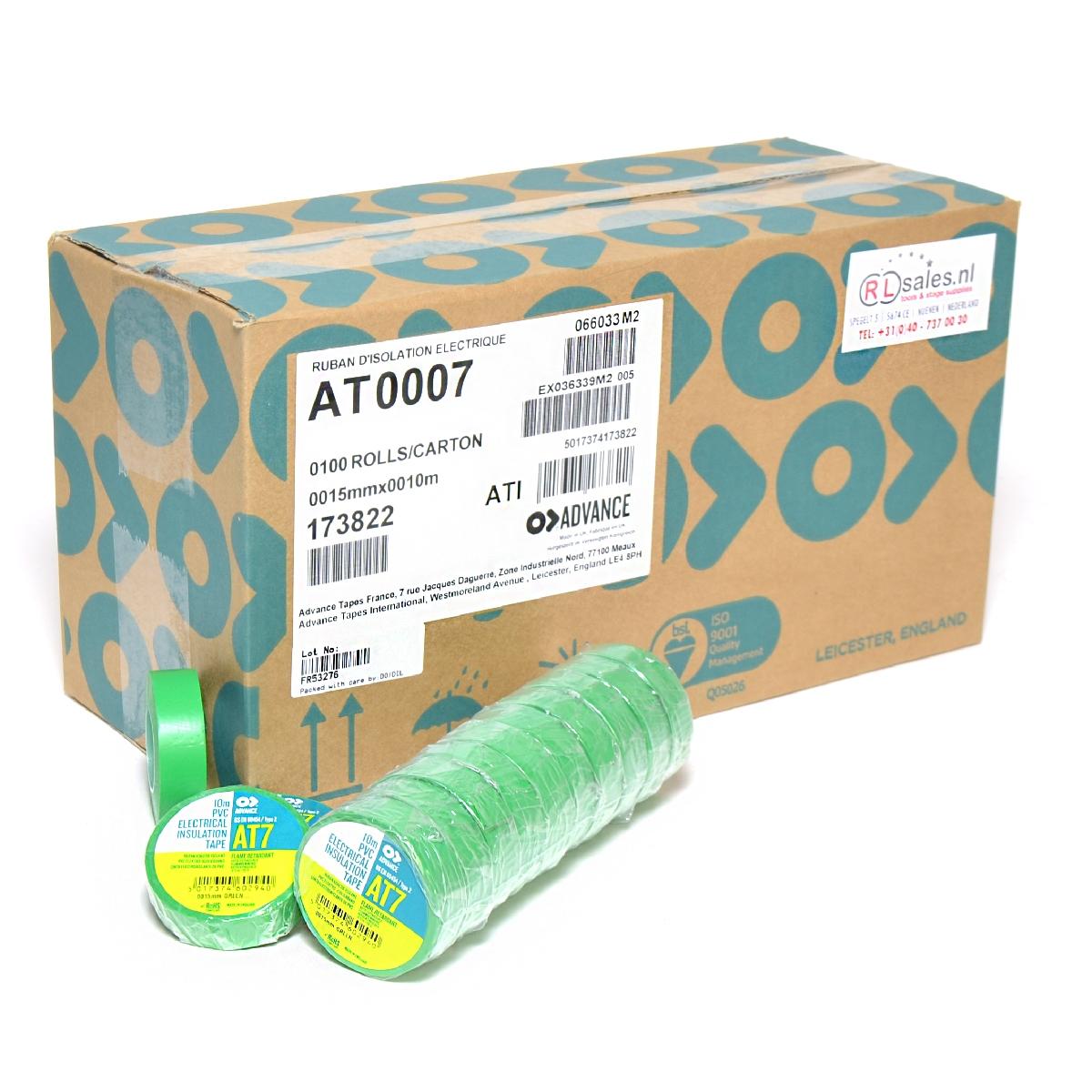 Advance -  AT7  - Isolatietape - 15mm x 10m groen - doos 100 rollen