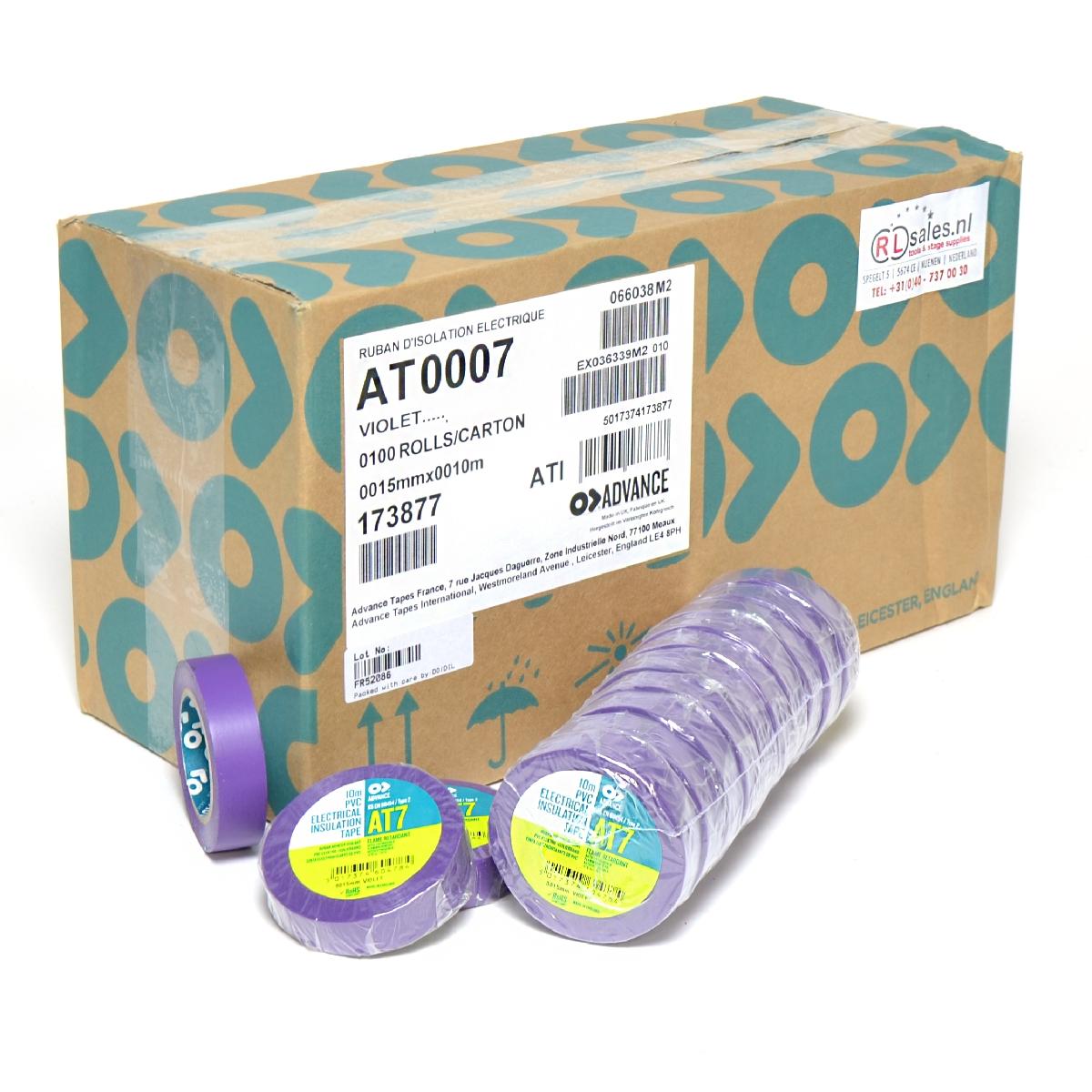 Advance -  AT7  - Isolatietape - 15mm x 10m paars - doos 100 rollen