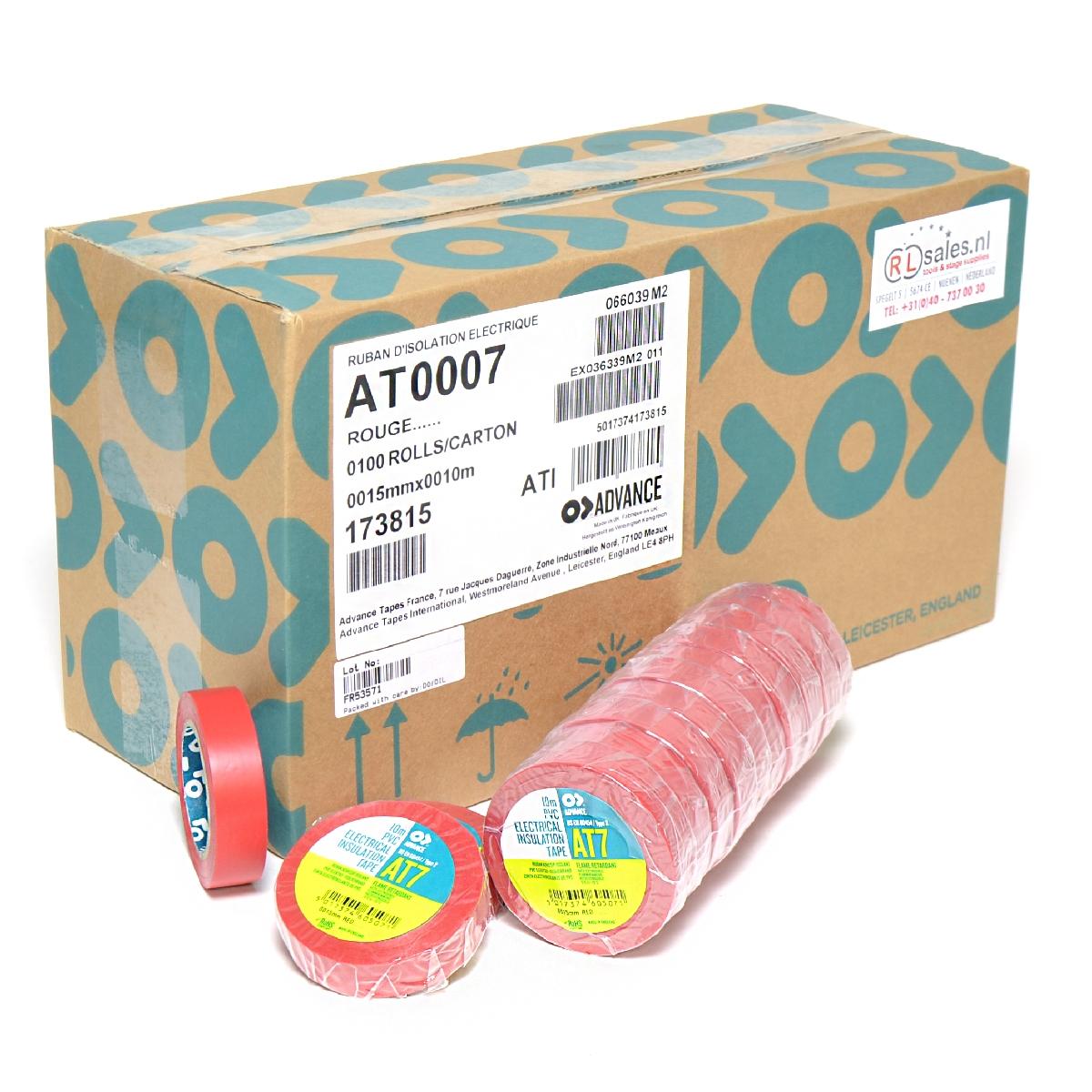 Advance -  AT7  - Isolatietape - 15mm x 10m rood - doos 100 rollen