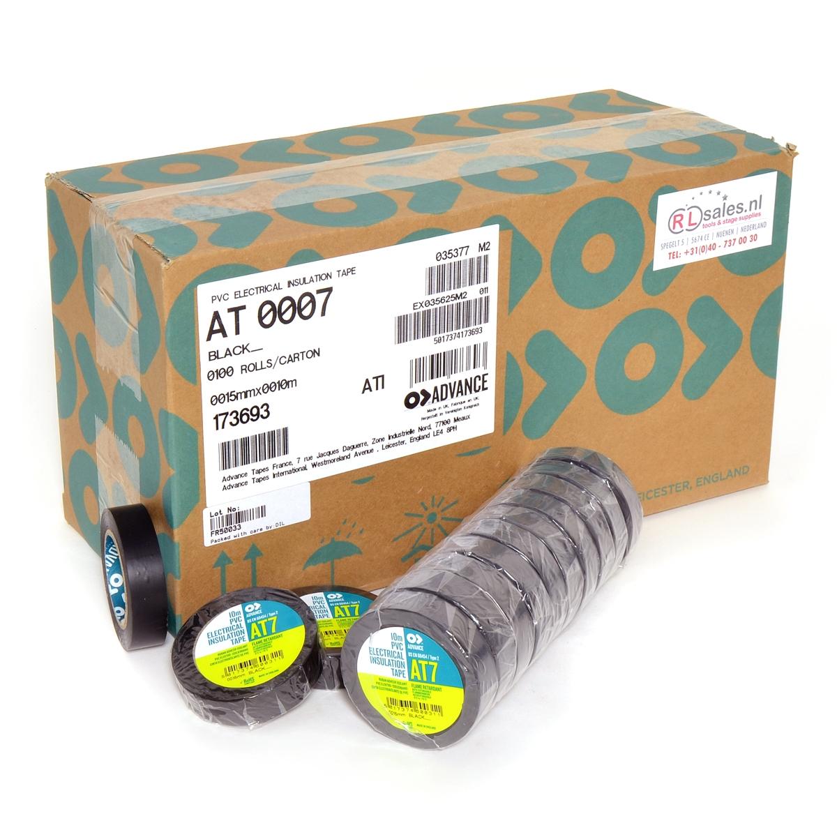 Advance -  AT7  - Isolatietape - 15mm x 10m zwart - doos 100 rollen