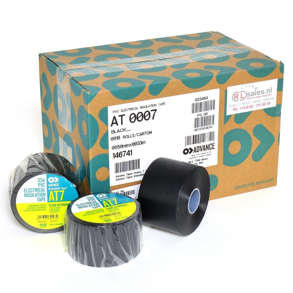 Advance -  AT7  - Isolatietape - 50mm x 33m zwart - doos 18 rollen