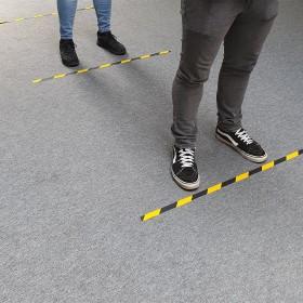 Markeringstape Geel/Zwart - strip 25mm x 1 meter - Antislip