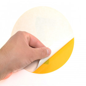 Magazijn vloersticker - Ø 19 cm - geel / zwart - Cijfer 20