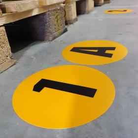 Magazijn vloersticker - Ø 19 cm - geel / zwart - Letter O