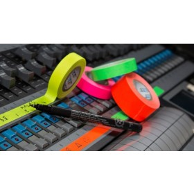 Pro paper tape mini rol 12mm x 9.2m mix groen - oranje - roze - geel