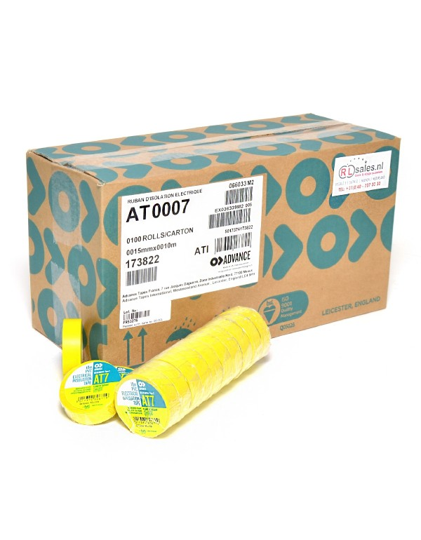 Advance AT7 PVC tape 15mm x 10m geel - doos 100 rollen