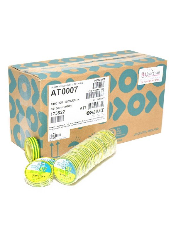 Advance AT7 PVC tape 15mm x 10m geel/groen - doos 100 rollen