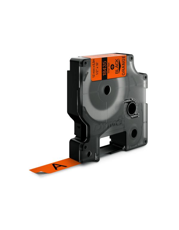 Dymo RHINO 18435 IND - vinyl label tape - 12mm zwart op oranje - aparaat