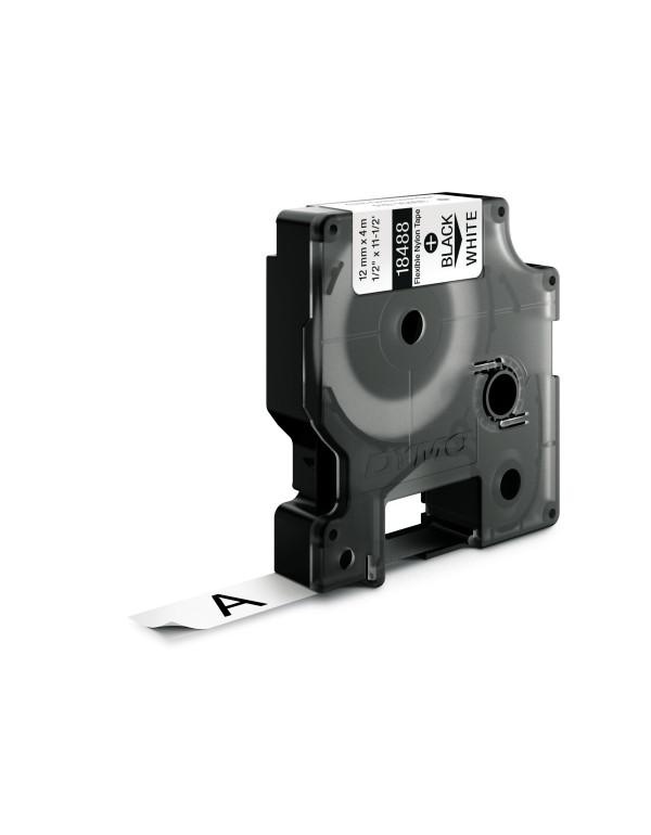 Dymo RHINO 18488 IND - Nylon label tape - 12mm zwart op wit - aparaat