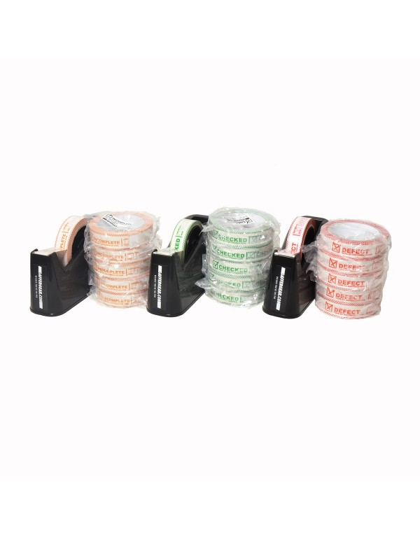3x GafferGear controle tape dispenser 25mm en 5x Checked, Defect en Incomplete tape