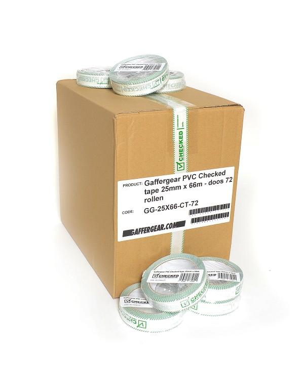 Gaffergear PVC Checked tape 25mm x 66m - doos 72 rollen