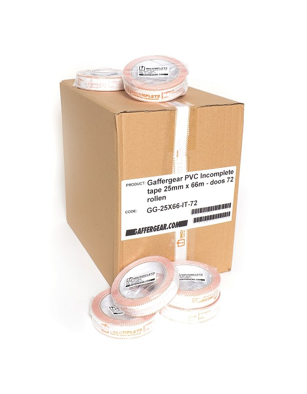 Gaffergear PVC Incomplete tape 25mm x 66m - doos 72 rollen