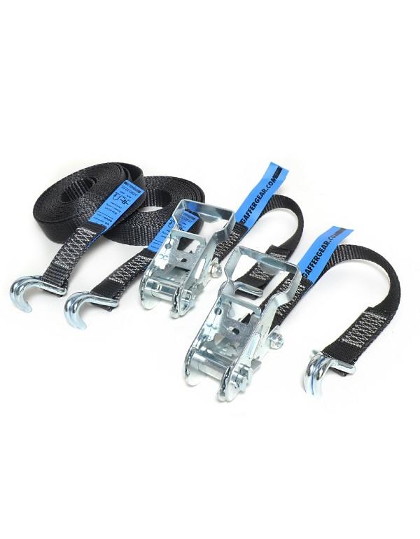 Gaffergear spanband 2-delig - 25mm x 0,5 + 4,5m zwart - 2 stuks