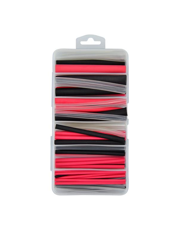 Krimpkous 3:1 assortiment box 87 stuks - rood, zwart en transparant