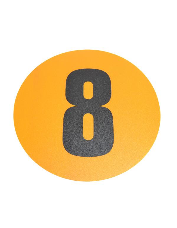 Magazijn vloersticker - Ø 19 cm - geel / zwart - Cijfer 8