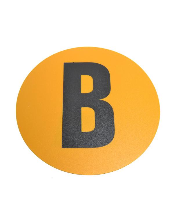 Magazijn vloersticker - Ø 19 cm - geel / zwart - Letter B