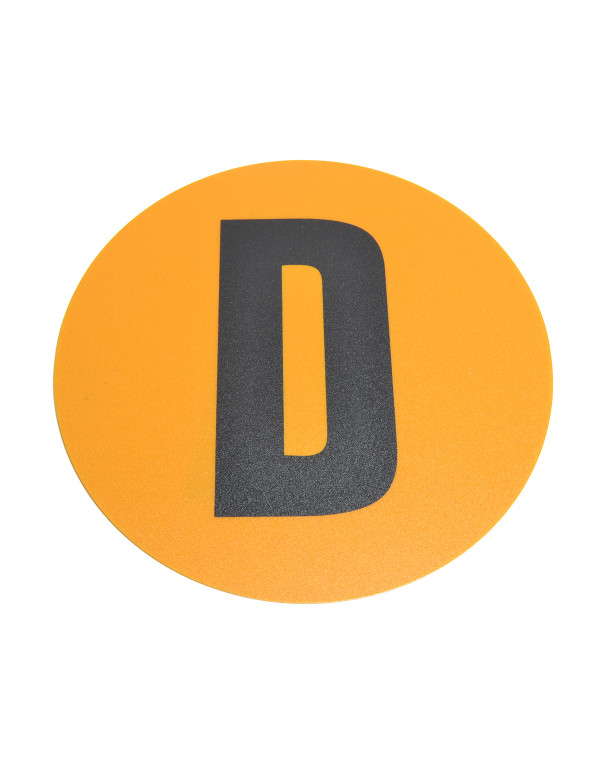 Magazijn vloersticker - Ø 19 cm - geel / zwart - Letter D