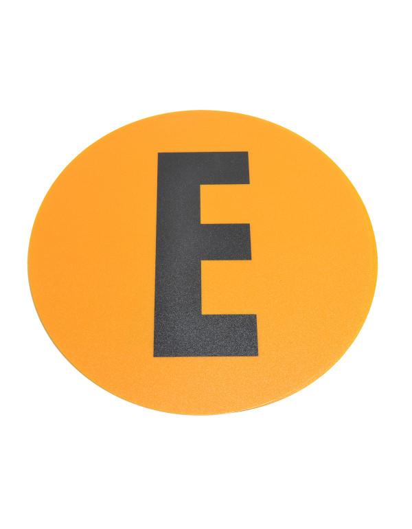 Magazijn vloersticker - Ø 19 cm - geel / zwart - Letter E