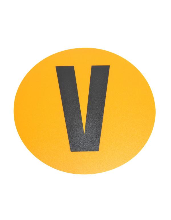 Magazijn vloersticker - Ø 19 cm - geel / zwart - Letter V