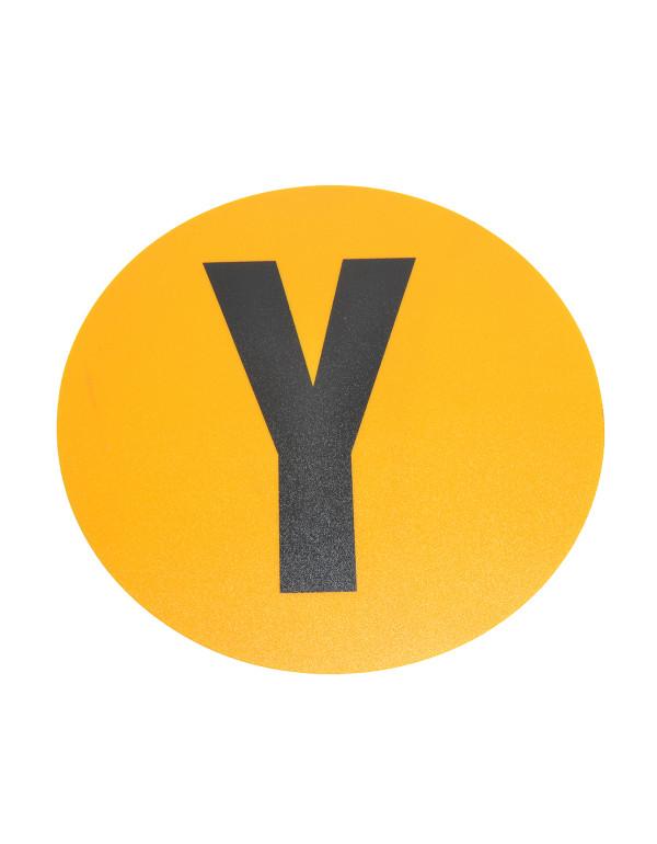Magazijn vloersticker - Ø 19 cm - geel / zwart - Letter Y
