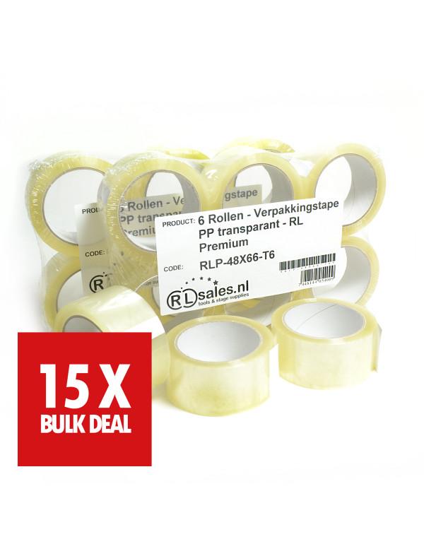 Verpakkingstape PP transparant - RL Premium x 15 - 15 jaar aanbieding