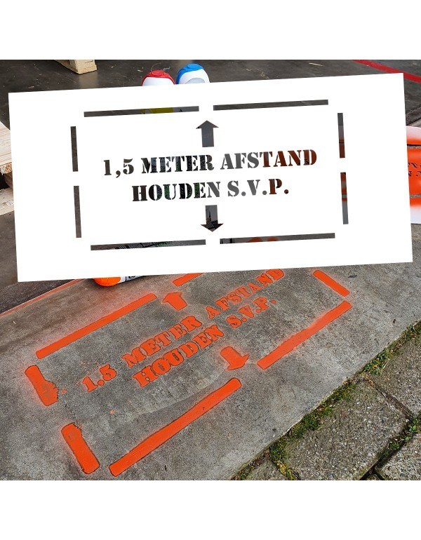 1,5 Meter Afstand Houden S.V.P. - Vloermarkering Sjabloon voor buiten - 25 cm x 55 cm