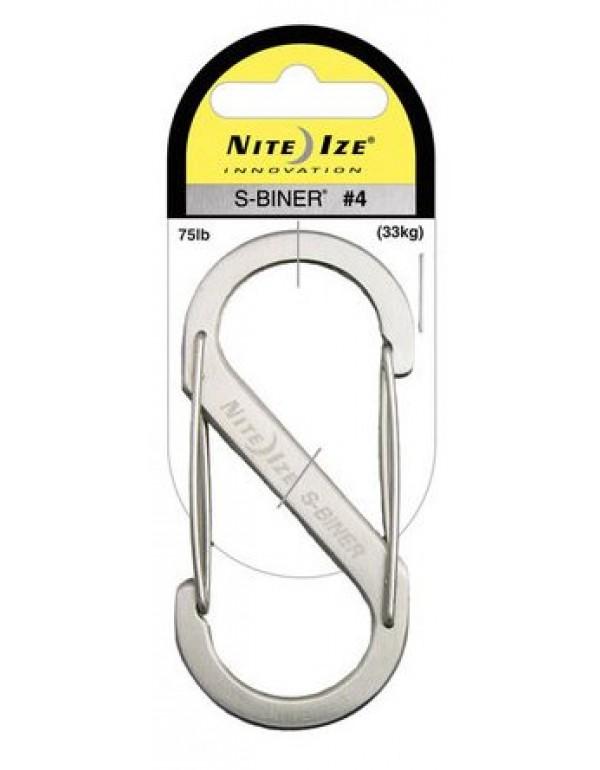 Nite Ize S-Biner #4 roestvrijstaal zilver