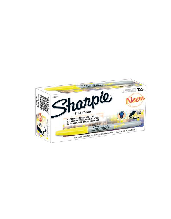 Sharpie permanent marker - Neon Geel set 12 stuks