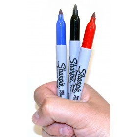Sharpie Fine Point permanent marker 1mm set: 1 x zwart, 1 x rood en 1 x blauw