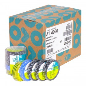 Advance AT4000 L1, L2, L3, N / AT7 groen / geel - PVC tape 15mm x 10m - voordeel doos - 60 rollen