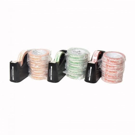 3x GafferGear controle tape dispenser 25mm en 5x Checked, Defect en Incomplete tape