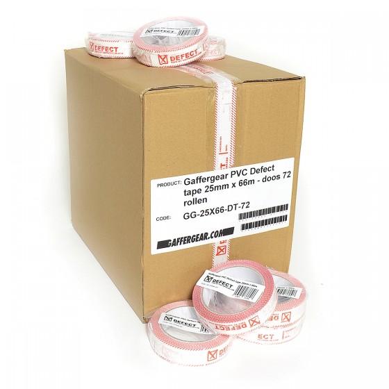 Gaffergear PVC Defect tape 25mm x 66m - doos 72 rollen