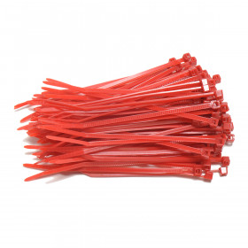 Kabelbinders 2,5 x 100 mm rood - zak 100 stuks