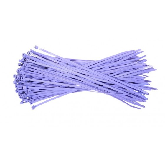 Kabelbinders 2,5 x 100 mm. paars - zak 100 stuks