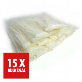 Kabelbinders 7,6 x 368 mm. wit - zak 100 stuks x 15 - 15 jaar aanbieding