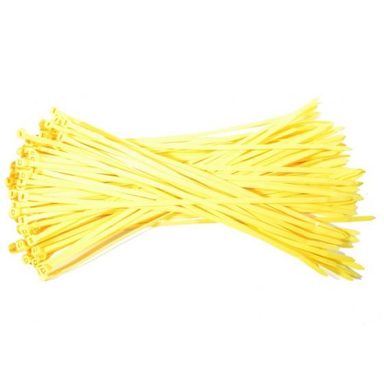 Kabelbinders 2,5 x 100 mm. geel - zak 100 stuks