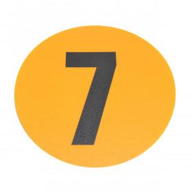 Magazijn vloersticker - Ø 19 cm - geel / zwart - Cijfer 7