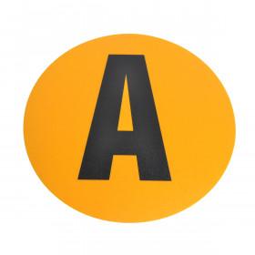 PVC magazijn sticker cijfers en letters Ø 190mm geel / zwart