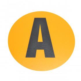 Magazijn vloersticker - Ø 19 cm - geel / zwart - Letter A