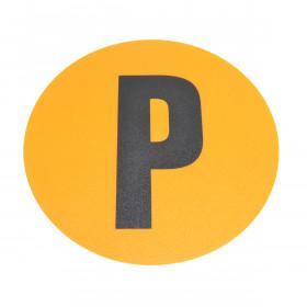 Magazijn vloersticker - Ø 19 cm - geel / zwart - Letter P