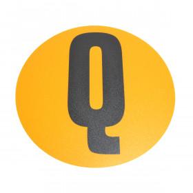 Magazijn vloersticker - Ø 19 cm - geel / zwart - Letter Q