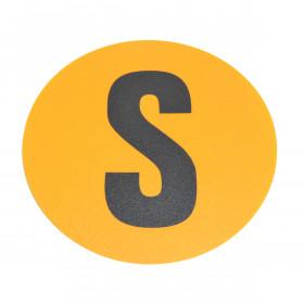 Magazijn vloersticker - Ø 19 cm - geel / zwart - Letter S