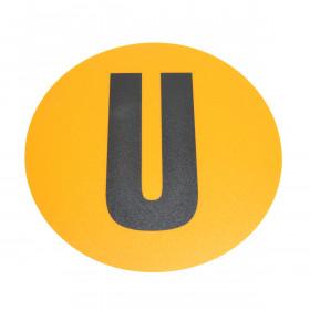 Magazijn vloersticker - Ø 19 cm - geel / zwart - Letter U