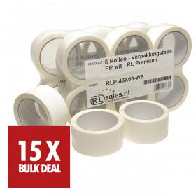 Verpakkingstape PP wit - RL Premium - 15 rollen