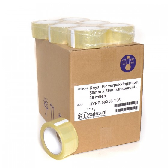 Royal PP verpakkingstape 50mm x 66m transparant - 36 rollen