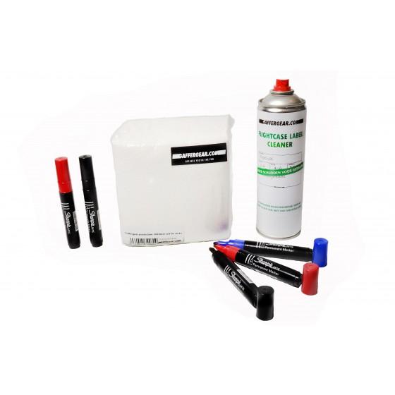 Gaffergear Flightcase label startset: 1 x cleaner - 5 x Sharpie M15 permanent marker - 56 x poetsdoek