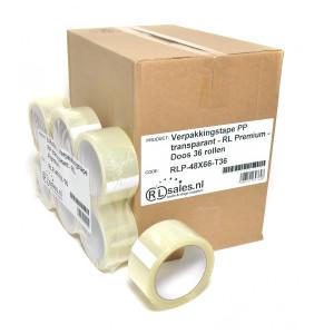 Verpakkingstape PP transparant - RL Premium - Doos 36 rollen