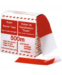 Afzetlint Rood/Wit 70mm x 500m - doos 12 stuks